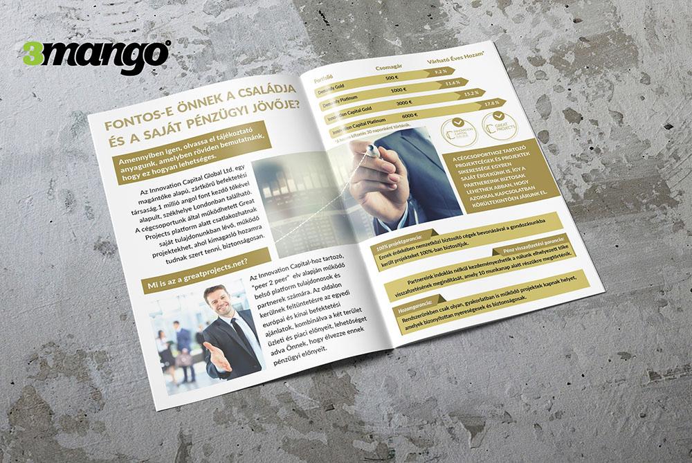 Letisztult céges brosúra készítés, infógrafika tervezés a jobb szemléltetés szempontjából. - Kiadványszerkesztés - 3 Mangó