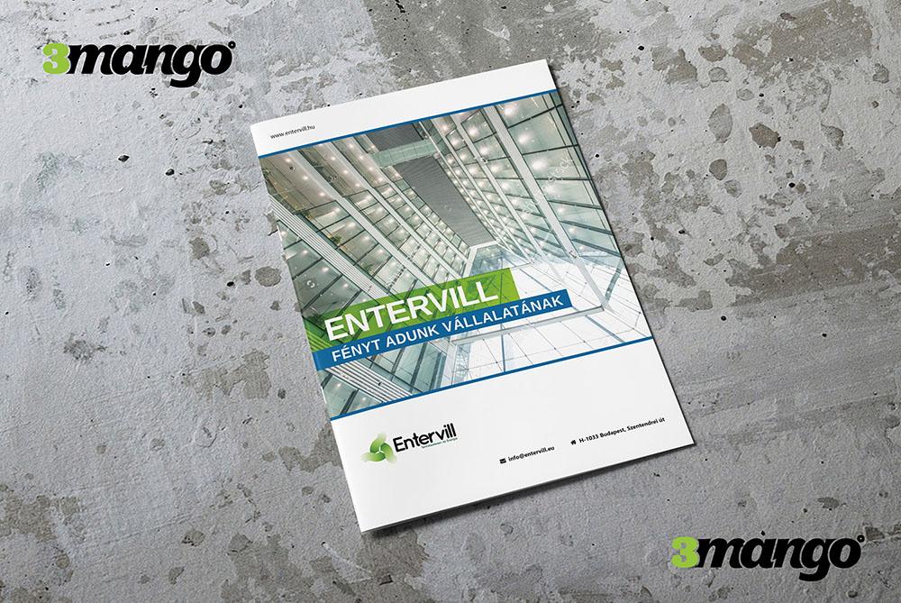 Katalógus tervezés infógrafikákkal, zöld, energiatakarékos céges megjelenéssel - 3 Mangó