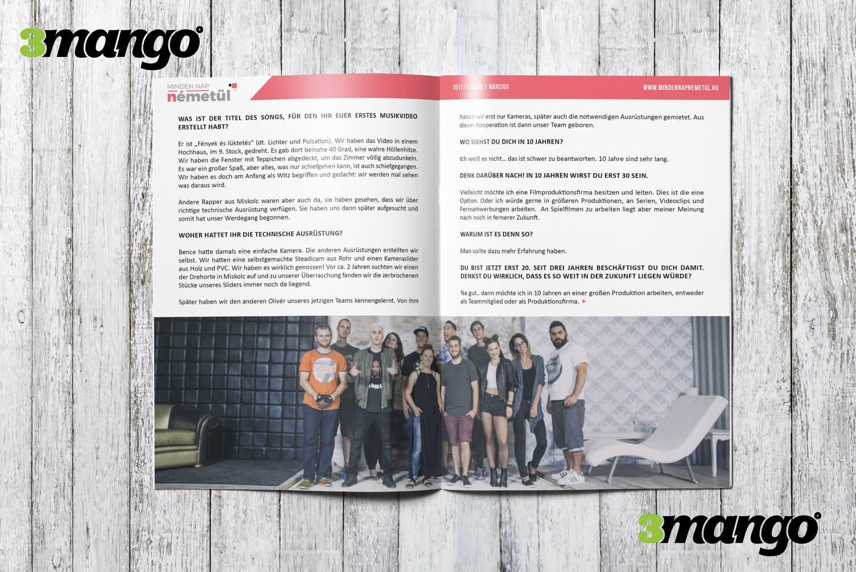 Német nyelvi magazin kiadványszerkesztés, grafikai tervezés, tördelés - 3 Mangó