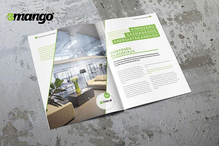 Öko és energiatakarékos megjelenést tükröző katalógus készítése, infógrafikák grafikai tervezése az értelmezhetőség kedvéért. - Kiadványszerkesztés - 3 Mangó